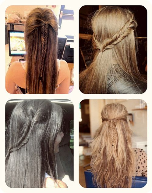 cute and easy half up and half down fishtail with cheap human hair extensions