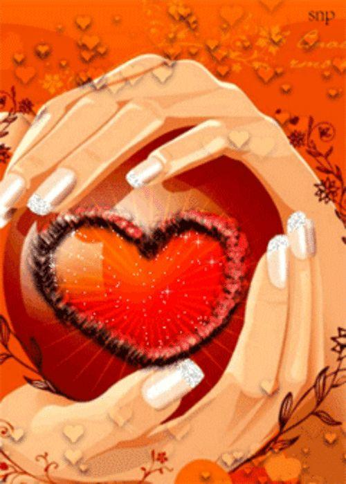 Картинки, сердце в ладошки гифы