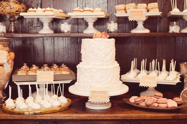 wedding cake and dessert bar