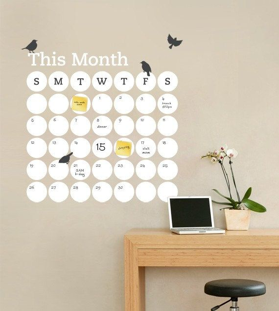 Dry Erase Daily Dot Calendar - Dry Erase Decal - by Simple Shapes. $78.00, via Etsy. WriteOnWalls