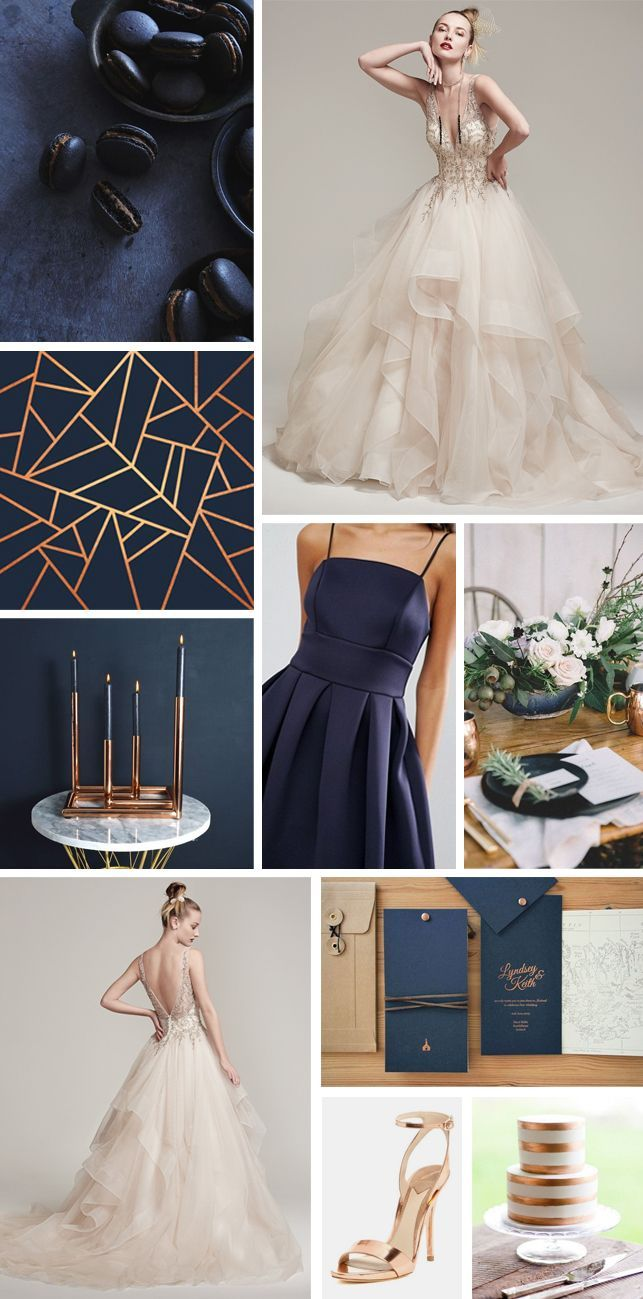 Navy blue and copper wedding inspiration moodboard with a