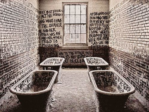 graffiti in an abandoned mental institution