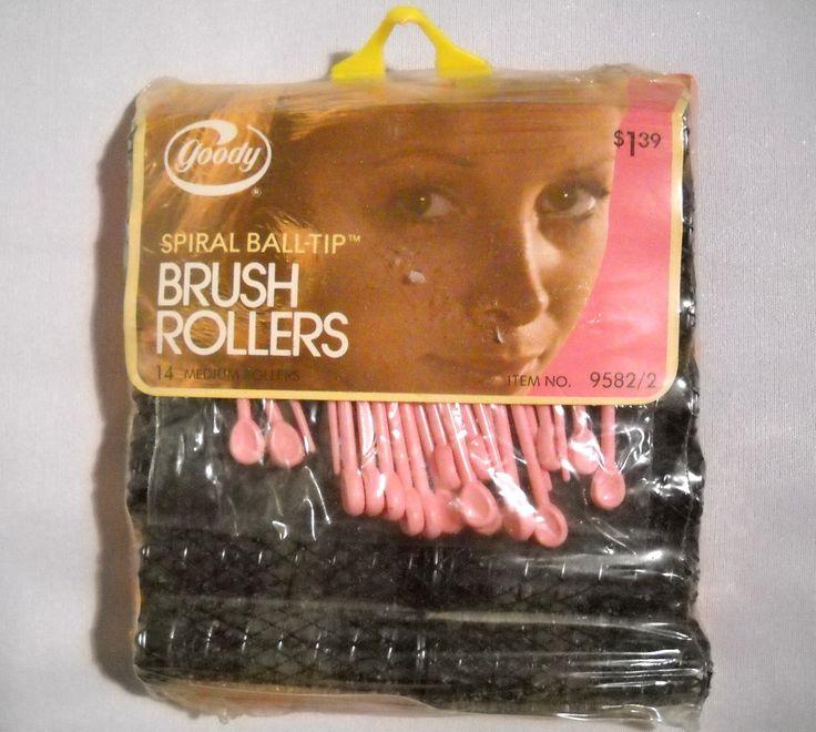 Vintage Goody Brush Roller Set Of 14 Curlers NOS 1973 Spiral Ball Tip TntbrbefanDolls on Etsy #Goody #NOS