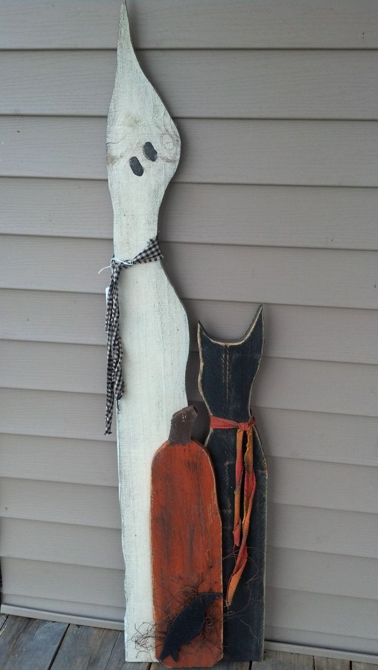 Primitive fall wood crafts - Wood Ghost With Cat Pumpkin Crow