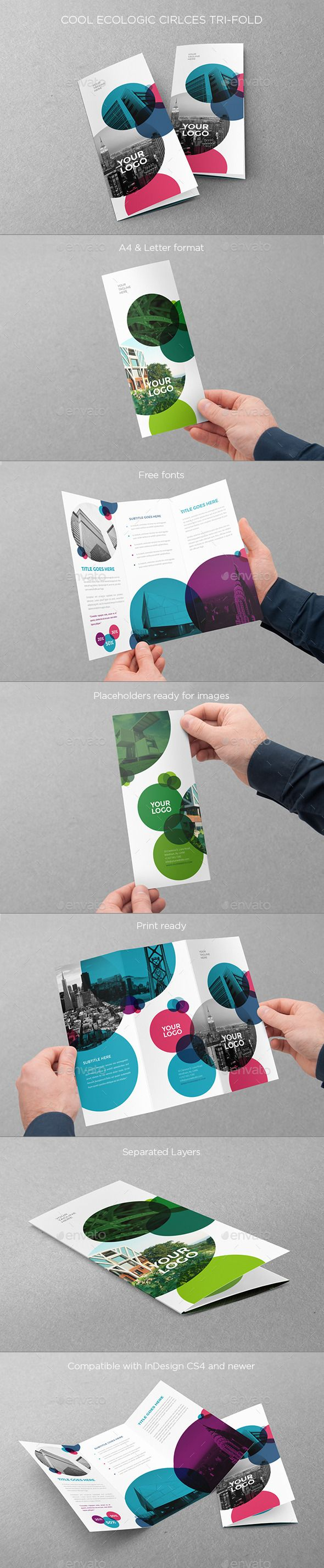 Cool Ecologic Circles Trifold — InDesign INDD #clean #simple • Available here → https://graphicriver.net/item/cool-ecologic-circles-trifold/10880089?ref=pxcr