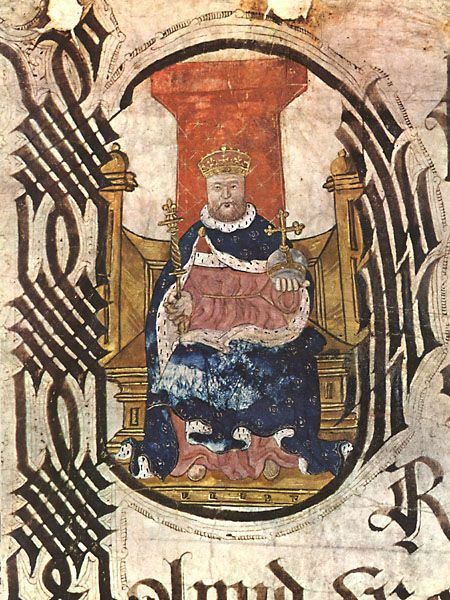 Henry VIII. pictured on an illuminated plea roll of the Court of the King's Bench from 1544-Public Record Office, London