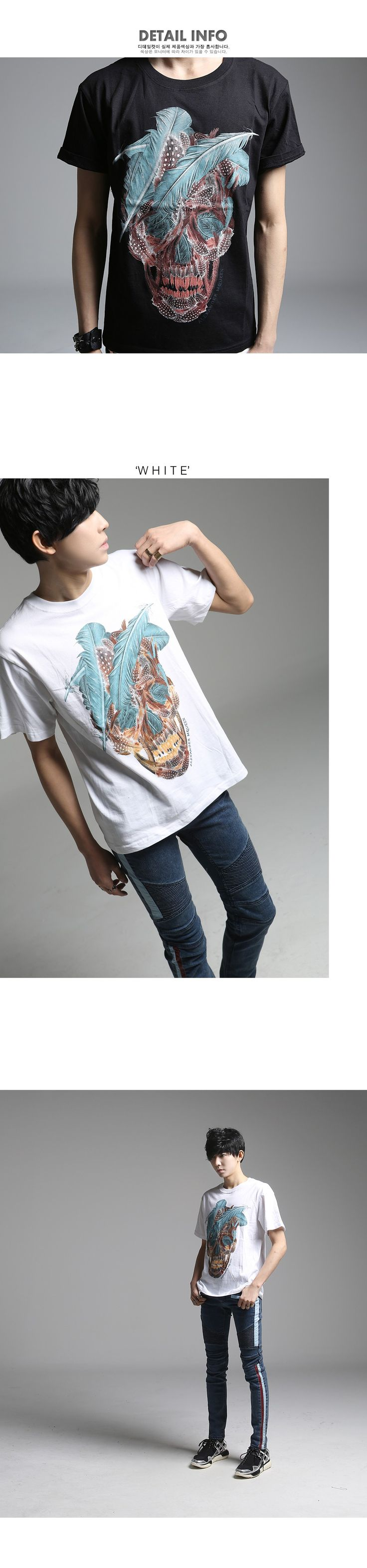 K-POP Men's Fashion Style Store [TOMSYTLE]  leaf Chaos Skull Short-sleeve T / Price : 32.61 USD #dailylook #dailyfashion #casuallook #tops #Tshirt #TOMSTYLE #OOTD  http://en.tomstyle.net/