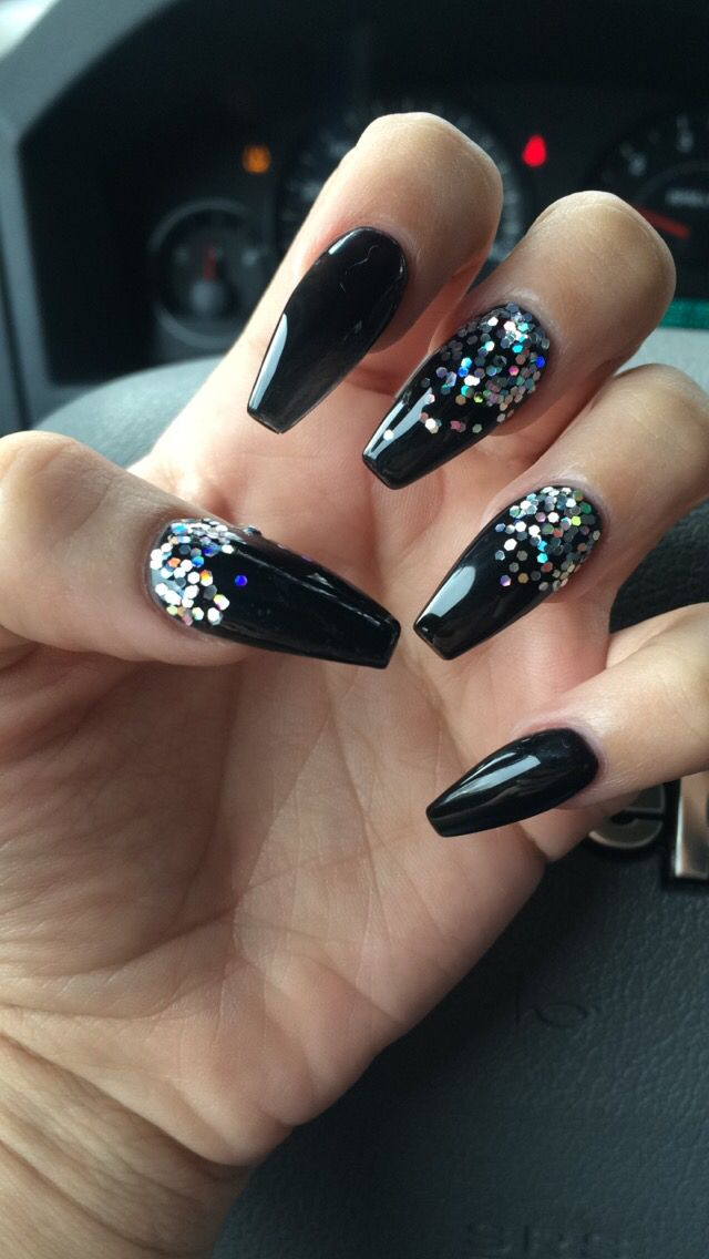Coffin nails Black with Glitter Going to do these without the glitter,  spider web design with crystals on accent nail. - Best 25+ Black Nails With Glitter Ideas On Pinterest DIY