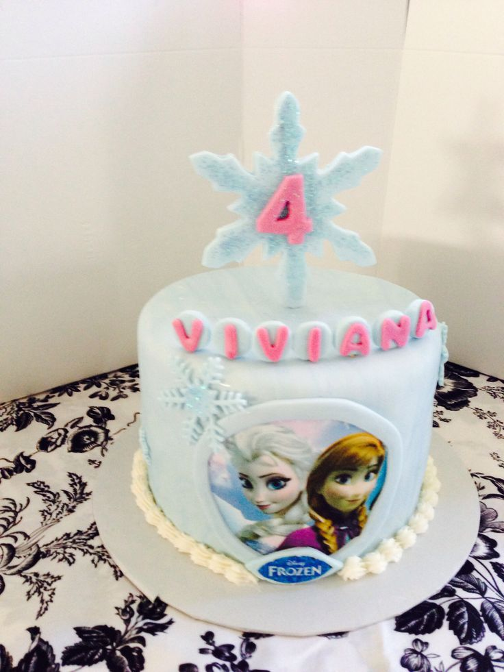 "Frozen cake with edible image 7"" round"
