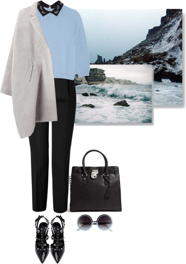 """""""jewel collared sweater"""" by letterelle ❤ liked on Polyvore"""