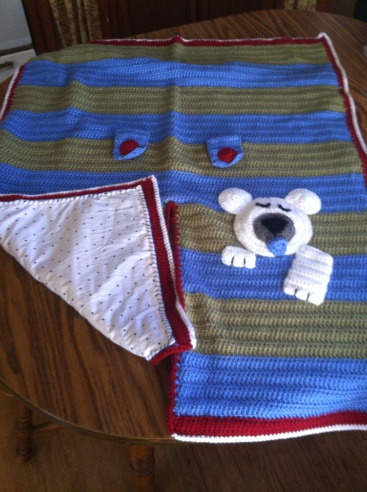 Crochet Car Seat Cover - Polar Bear