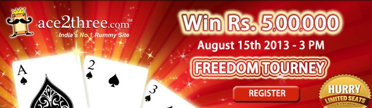 Play Rummy Online, Independence Day Special Freedom Tourney: Win Rs.5 Lakhs Cash Prizes.!