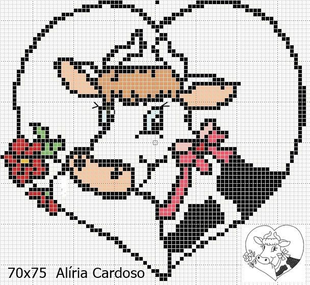 Point de croix *♥* Cœur Vache