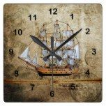 Rustic Vintage Ship Design with Knotted Rope Square Wall Clock  #Clock #Design #Knotted #Rope #Rustic #RusticClock #Ship #Square #Vintage #Wall The Rustic Clock