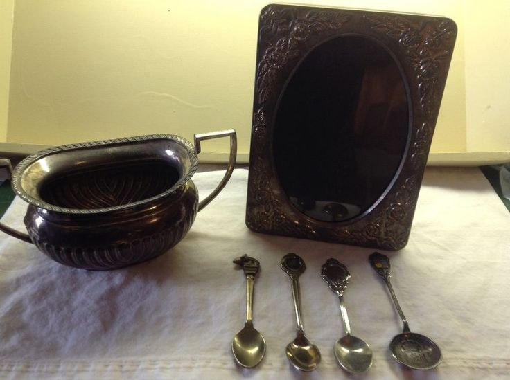 Silver Plated Lot, Some Vintage, Photo Frame, Spoons, Bowl