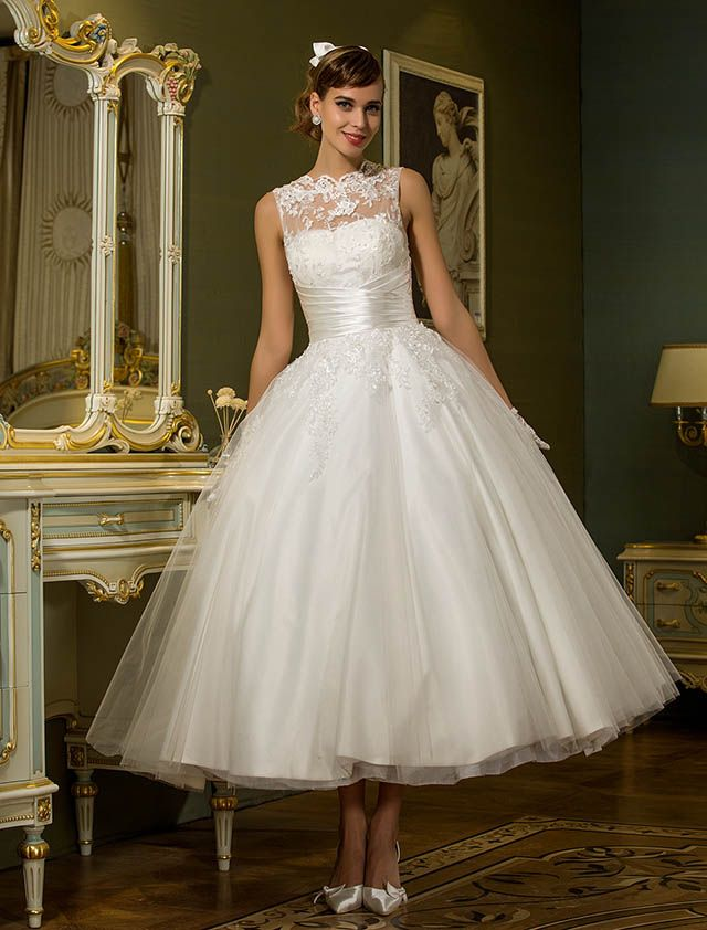 Wedding Dress A Line Ankle Length Tulle Jewel Bridal Gown With Beading