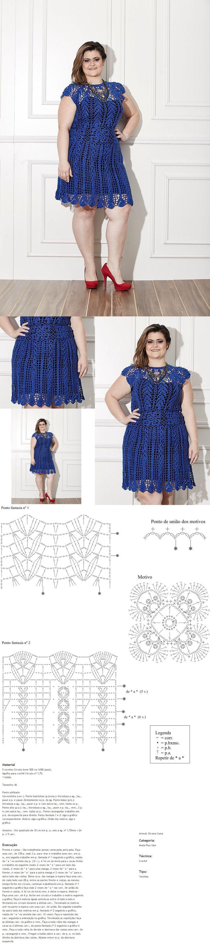 Receitas Círculo - PLUS SIZE - Vestido Azul kare motif