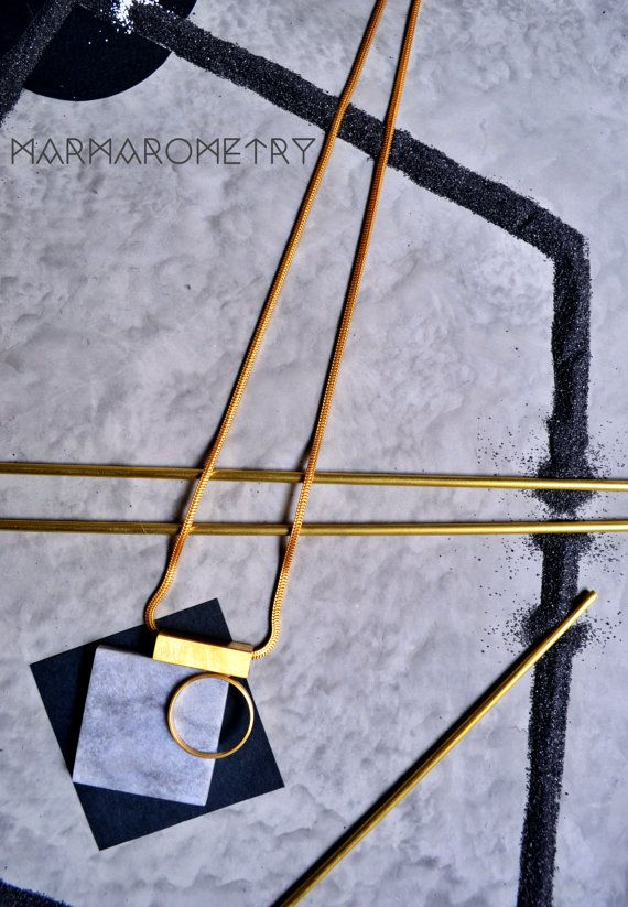 Square grey marble necklace with gold metallic by Marmarometry
