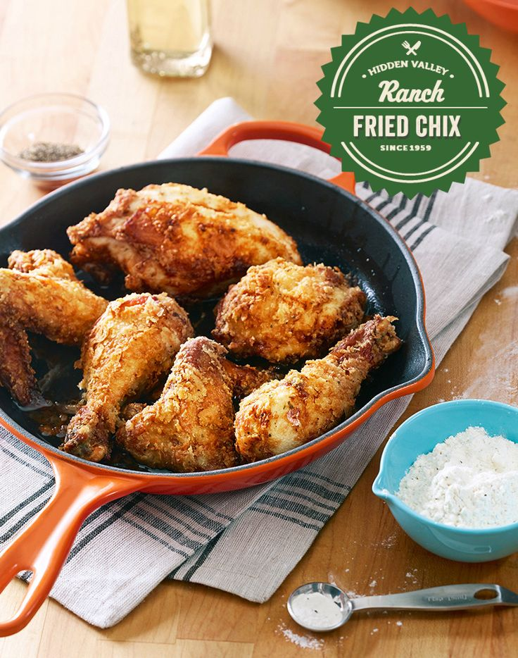 For simple and flavorful fried chicken, there's one secret ingredient: ranch. This delicious recipe could not be easier – just marinate the chicken in ranch, dredge with flour, and fry. The whole family will love this perfect weeknight dinner treat. Yummy!