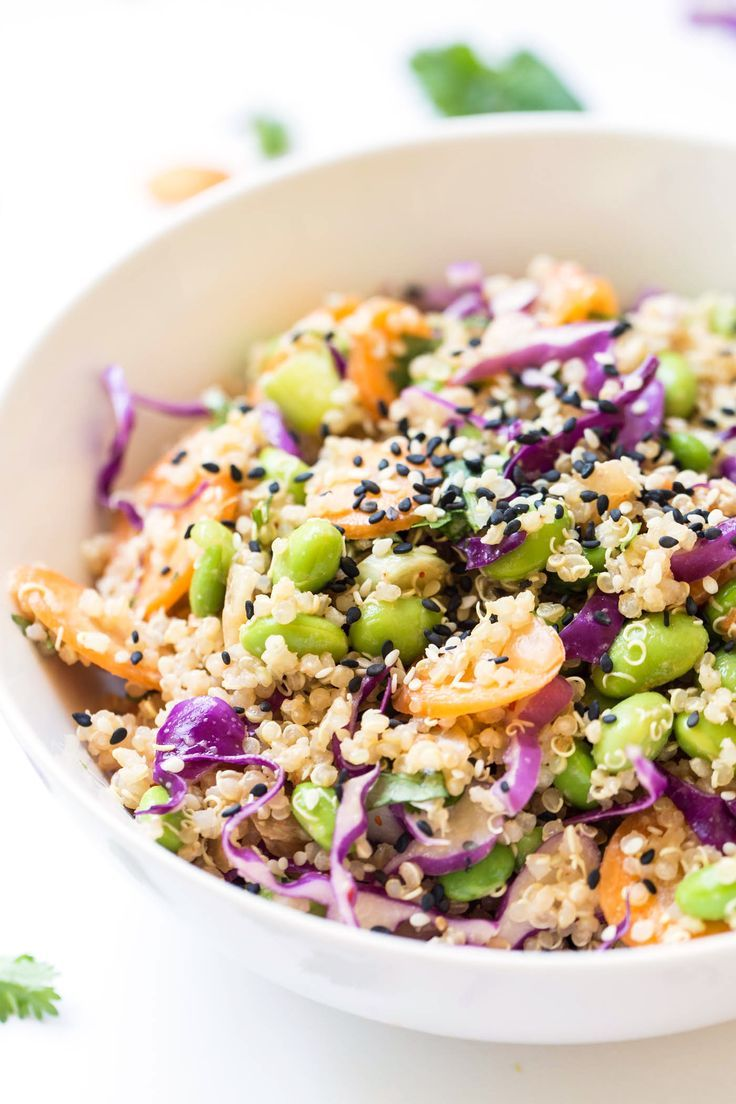 This Asian Quinoa Power Salad is a protein-packed vegan salad that takes less…