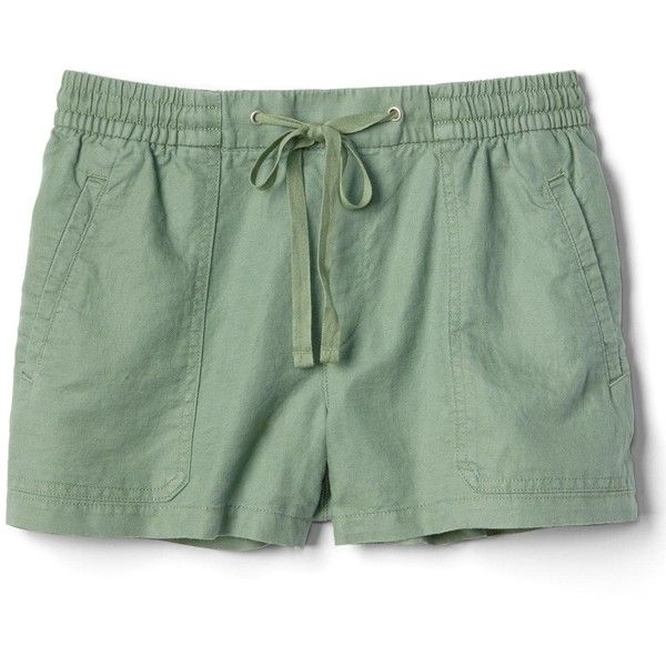 Gap Women Linen Cotton Utility Shorts (£18) ❤ liked on Polyvore featuring shorts, elastic waist shorts, drawstring shorts, pocket shorts, draw string shorts and stretch waist shorts