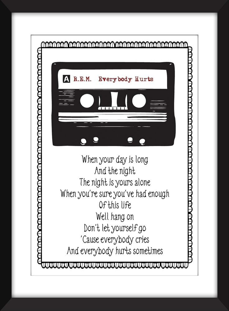 "R.E.M. Everybody Hurts Lyric Print 11 x 14/8 x 10/5 x 7"" A3/A4/A5 Typography Print,. This artwork is a celebration of the iconic REM song Everybody Hurts from their 1992 album Automatic for the People. If there is another of your favourites that you would like me to feature just let me know. Please note that the frame is not included and is for illustrative purposes only. Print comes in six measurements Small - 5 x 7 inches Small - A5 (5.8 inches x 8.3 inches) Medium - 8 x 10 inches Medium…"