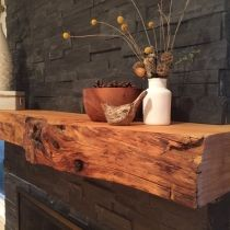 live edge wood mantle piece