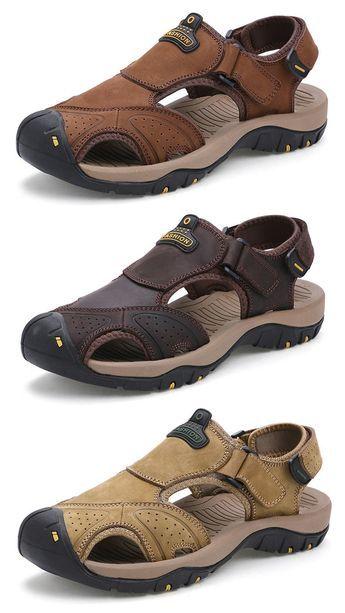 Men Hook-Loop Anti-collision Toe Shock Absorption Outdoor Hiking Sandals