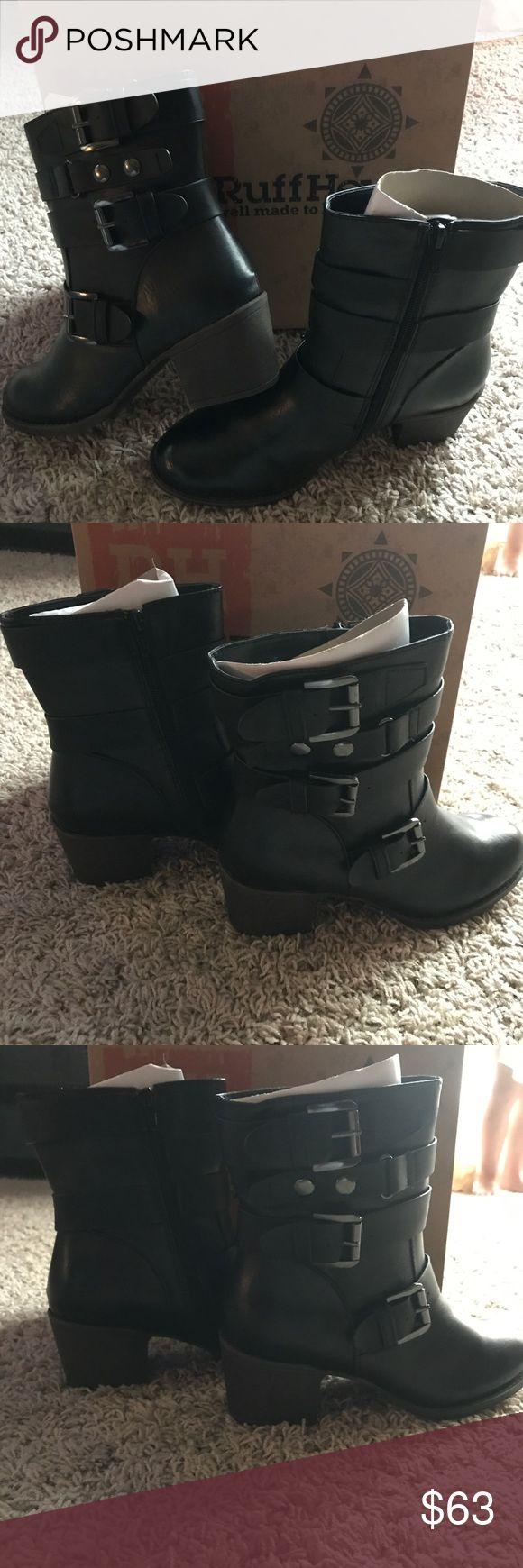 NWB Ruff Hewn Black Buckle Heel Boot 7-8 Available NWB Ruff Hewn Black Buckle Healed Boots, Sizes 7 & 8 Available. Ruff Hewn Shoes Heeled Boots