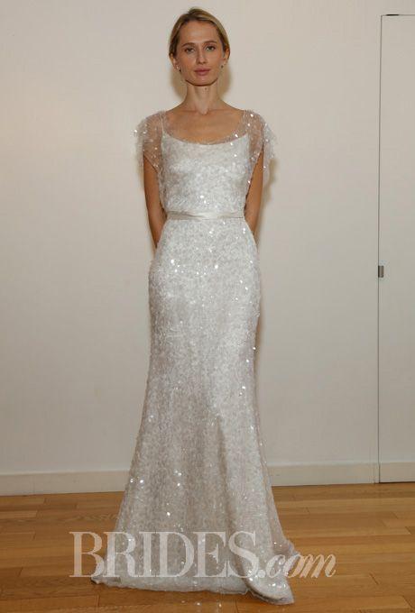 Brides: Anne Bowen - Fall 2014. Sequin A-line wedding dress with a scoop neckline and flutter short sleeves, Anne Bowen