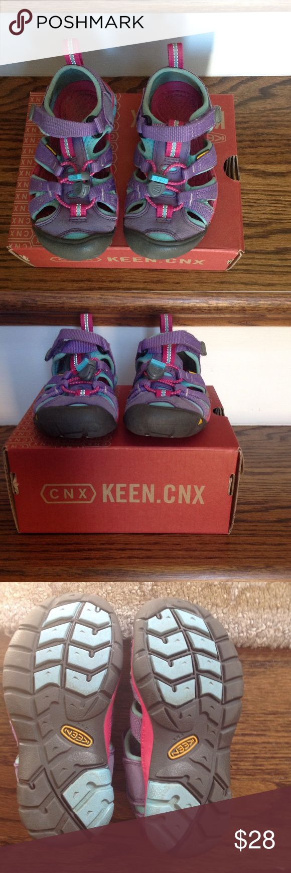 Toddler Keens  Toddler SEACAMP II CNX. Purple Heart/Very berry Keens. These are perfect for the spring and summer! I love that my kids can put these on without help. Great when you are in a hurry too. This is a high protection water sandal with a grippy rubber sole. Easy to clean. Washable. Great condition. Keen Shoes Sandals & Flip Flops
