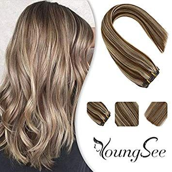 YoungSee 22 Inch Clip in Hair Extensions Human Hai…