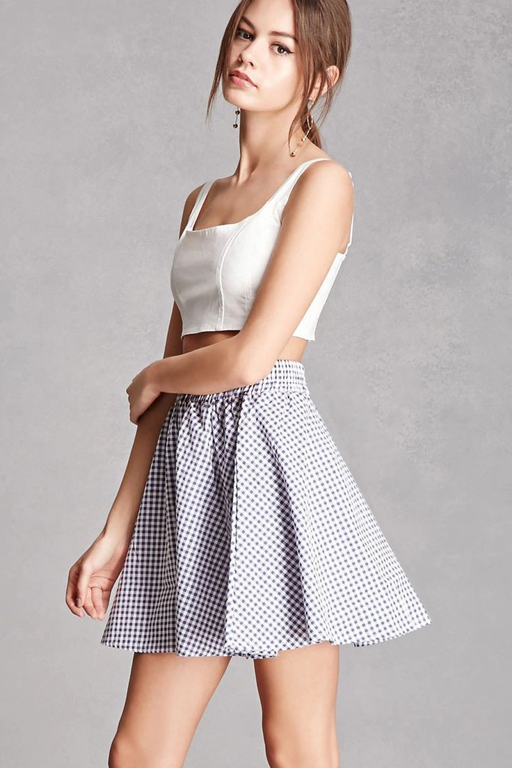 Ls nude nymphet A woven mini skater skirt by Compania Fantastica™ featuring an allover  gingham pattern, an