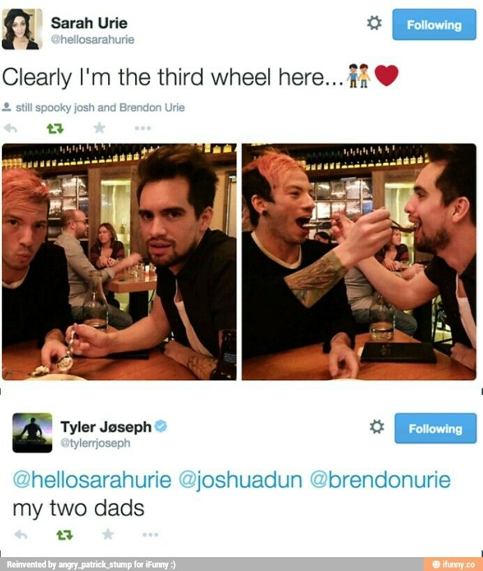 Brendon and Sarah Urie. Josh Dun and Tyler Joseph.
