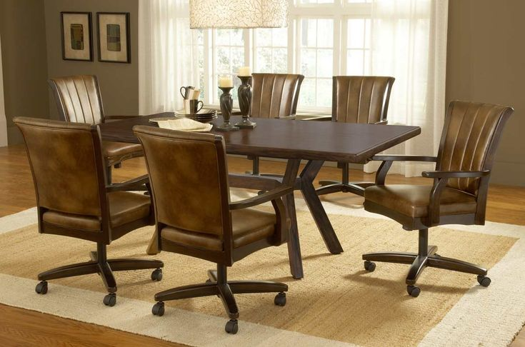 Dining Room Chairs, Leather Dining Room Chairs With Casters
