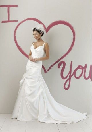 Satin V-Neck Mermaid Simple Wedding Dress