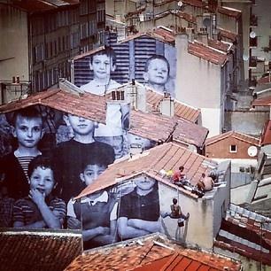 """JR - Artist à Marseille- France / Mai 2013 - www.jr-art.net - """"Ecole St Charles, 1966-67"""" - Point de vue du toit terrasse de la Friche -"""