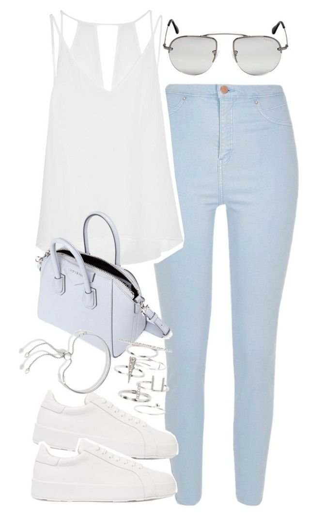"""Outfit with light blue jeans"" by ferned on Polyvore featuring River Island, Sandro, Jil Sander, Prada, Givenchy, Topshop and Monica Vinader"