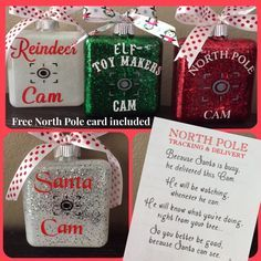 Kids will love these ornament cams . Straight from the North Pole, Santa or his Elfs. Each comes with a cute letter !! #santa #ornament #glassornament #christmas #thanksgiving #kidschristmas #kidsornaments #christmastree #holidaydecorating #christmasdecorating A personal favorite from my Etsy shop https://www.etsy.com/listing/470971890/santa-cam-elf-cam-reindeer-cam-northpole