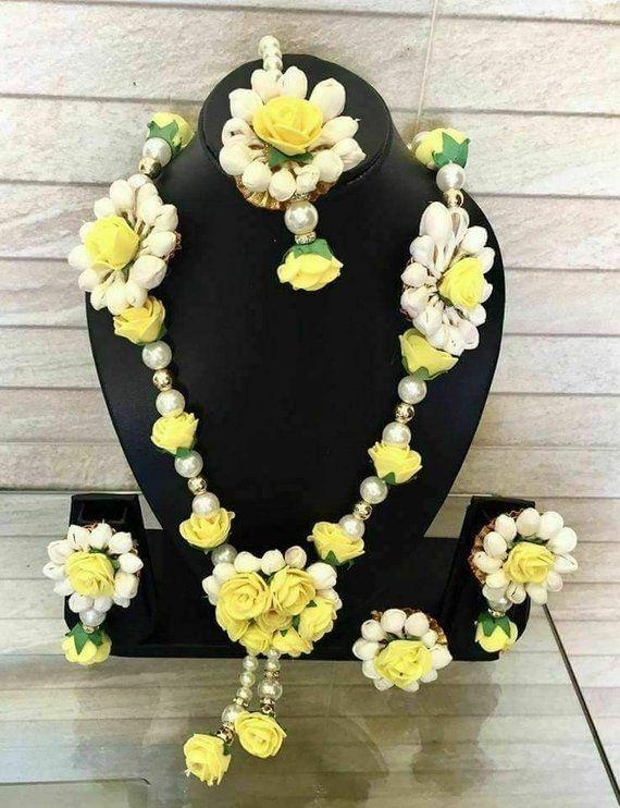 Yellow Handmade Flower Necklace Set with Flower Earrings Gift for Women Wedding Jewelry Best Handmade Floral Jewelry Bridesmaid Gift