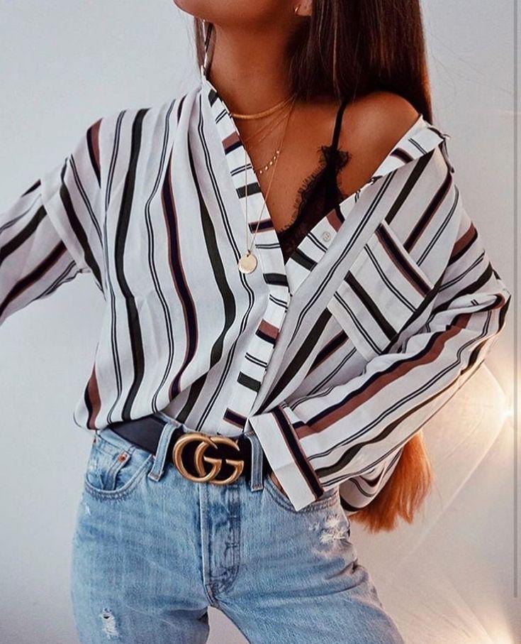 Striped button down + lace bralette.