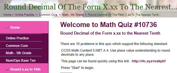 """This is an image from this resource on the Internet4Classrooms' """"Fifth Grade Interactive Math Skills - Decimals"""" resource page:    Round Decimal of the Form x.xx to the Nearest Tenth.    Online quiz that is self checking."""
