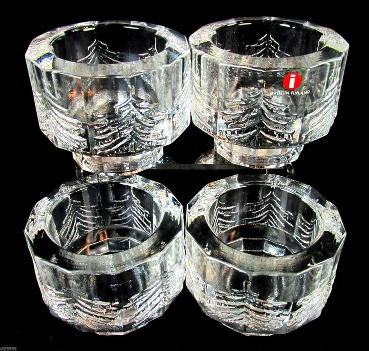 Iittala Crystal Kuusi Fir Trees Glass Votive Candle Holders Set of 4 | eBay