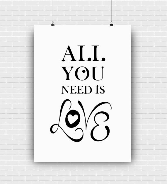 All you need is love art print. Digital wall by GraphicCorner