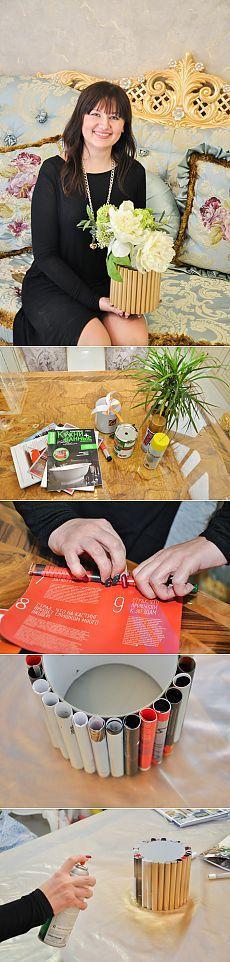 """Мастер-класс: кашпо для цветов из старых журналов   статьи рубрики """"Дом""""   Леди Mail.Ru"""