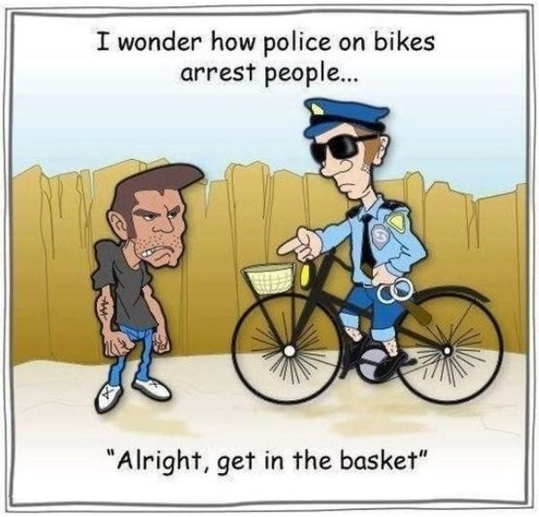 Police on Bicycle Funny Cartoon Image | Funnyho.com