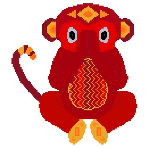 Speak no evil. Modern cross stitch pattern showing a cute little red monkey by crossstitchtheline