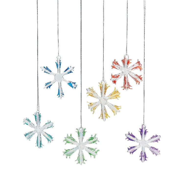 Colorful Glass Snowflake Christmas Ornaments - OrientalTrading.com
