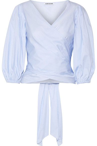 Elizabeth and James - Farrah Striped Cotton-poplin Wrap Top - Sky blue - x small