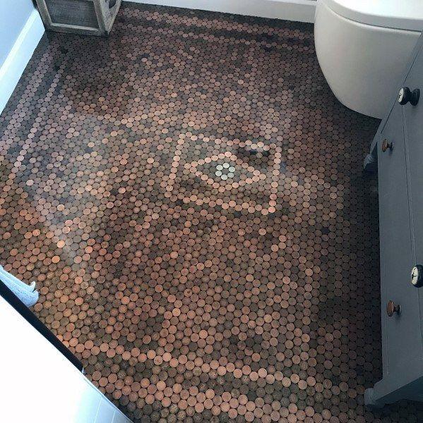 Top 60 Best Penny Floor Design Ideas Copper Coin Flooring Penny Floor Penny Floor Designs Penny Tiles Bathroom Floor